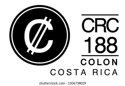 C, CRC, 188, Colon, Costa Rica Banking Currency icon typography logo banner set isolated on background. Abstract concept graphic element. Collection of currency symbols ISO 4217 signs used in country