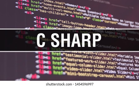C sharp concept illustration using code for developing programs and app. C sharp website code with colourful tags in browser view on dark background. C sharp on binary computer code, background