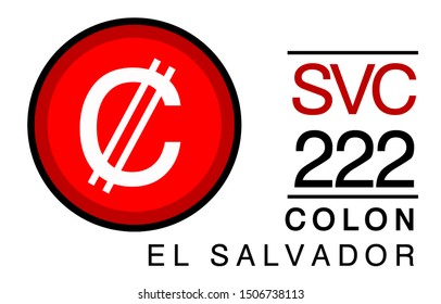C, SVC, 222, Colon,El Salvador Banking Currency icon typography logo banner set isolated on background. Abstract concept graphic element. Collection of currency symbols ISO 4217 signs used in country