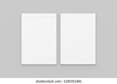 C4 envelope mock up isolated on soft gray background. 3D illustration.