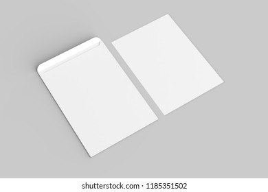 C4 envelope mock up isolated on soft gray background. 3D illustration.