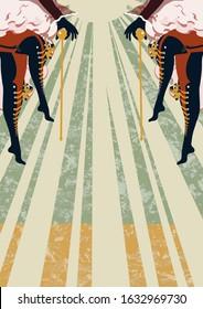 Cabaret Burlesque dancers background poster with women legs