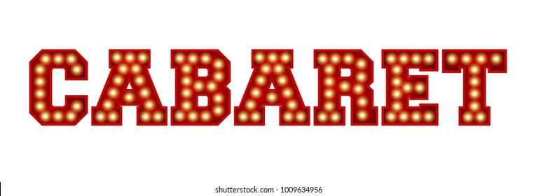 Cabaret word made from red vintage lightbulb lettering isolated on a white. 3D Rendering