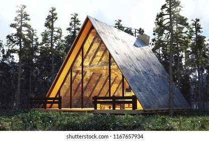 cabin, house in the woods 3d rendering
