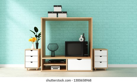 cabinet design, modern living room with mint brick wall on white wooden floor. 3d renderin