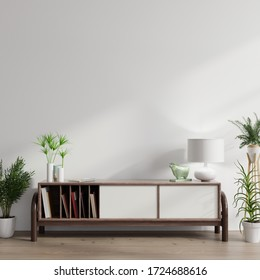 Cabinet mockup in modern empty room,white wall, 3d rendering