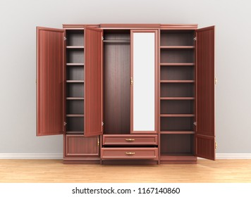 Cabinet. Open the closet with the clothes on the background of the grey wall. 3d illustration