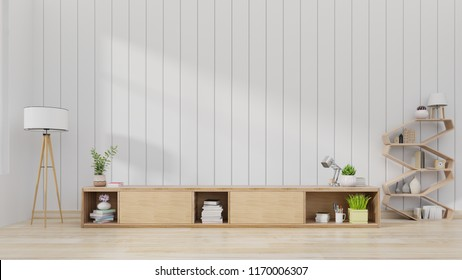 Cabinet TV in modern living room with decoration on wooden white wall background,3d rendering