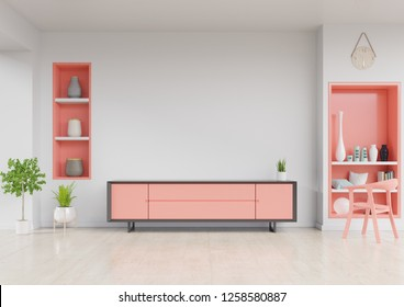 Cabinet TV in modern living room with chair,Wall shelf and plant on white wall background. living coral color of the Year 2019,3d rendering.