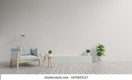 cabinet TV in modern living room with armchair on white  wall background,3d rendering