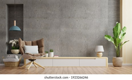 Cabinet TV in modern living room with armchair,lamp,table,flower and plant on concrete wall background,3d rendering