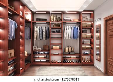 Cabinet. Wardrobe room. 3d illustration