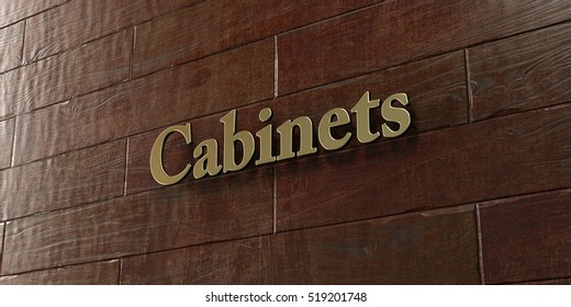 Cabinets - Bronze plaque mounted on maple wood wall  - 3D rendered royalty free stock picture. This image can be used for an online website banner ad or a print postcard.