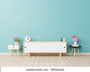 Cabinets for TV in a dark room, blue walls ,3D rendering