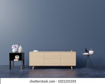 Cabinets for TV in a dark room, dark walls ,3D rendering