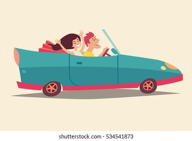 Cabriolet with happy people. Summer vacation, cartoon character family on holiday. Travel by car. Newlyweds honeymoon, isolated on ivory background