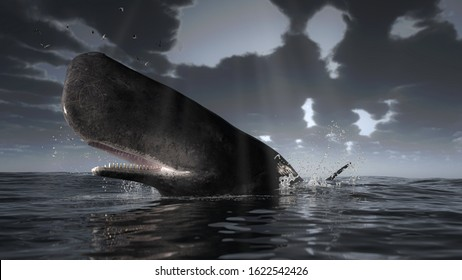 Cachalot sperm whale is over the sea surface under dramatic overcast weather 3d rendering