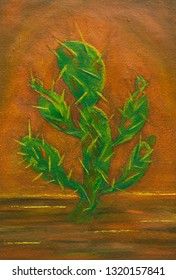 Cactus in desert, Painting oil on canvas