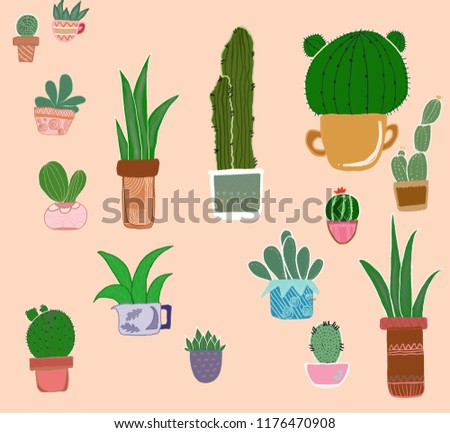 Cactus Draw Illustration Collection Stock Illustration Royalty