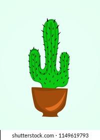Cactus flower in pot, cartoon. Illustration