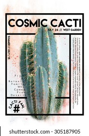 Cactus graphic with text and frame on it