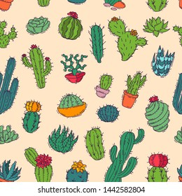 Cactus home nature handmade illustration of green cactus in bow plant cactaceous tree with flower different sorts and design home plant seamless pattern background