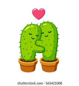 Cactus hug drawing. Cute cartoon cactus couple in love, funny illustration.
