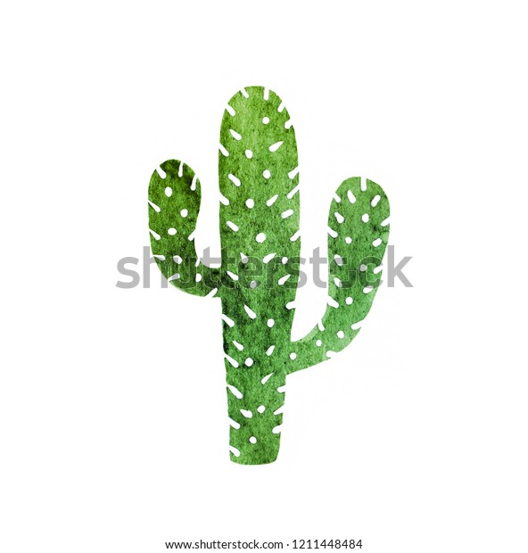 Cactus isolated on a white background. Watercolor hand drawn paper raster texture illustration in cute minimalistic style.