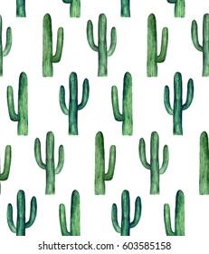 Cactus pattern watercolor. Green botanical background