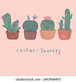 "Cactus in pots with smile faces with wording ""cactus therapy"" mean to relaxation hobby by grow the cactus ,digital painting"