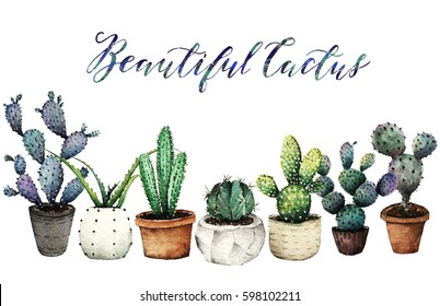 Cactus in pots,Watercolor illustration,set, postcard for you, handmade, white background