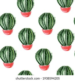 Cactus in red pot watercolor seamless pattern. Template for decorating designs and illustrations.