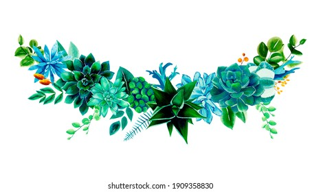Cactus and succulent, eucalyptus and greenery. Spring art wavy watercolor border for unique projects.  Yellow wildflowers. Green summer harmony. Frame for design. Meditatiion. Peaceful nature wellness