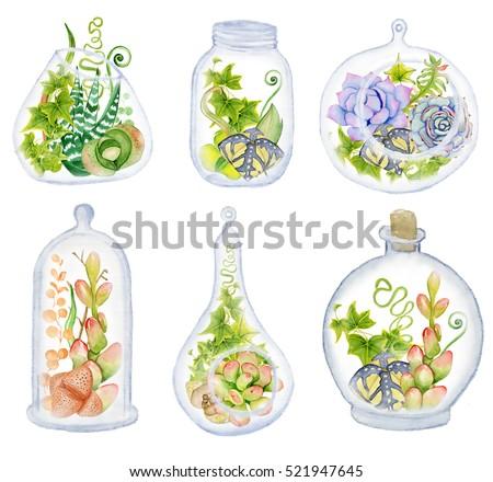 Royalty Free Stock Illustration Of Cactus Succulent Set Geometrical
