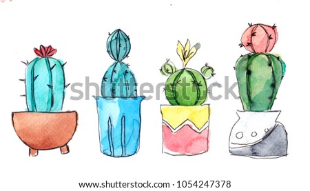 Cactus Succulent Watercolor Hand Draw Cactus Stock Illustration