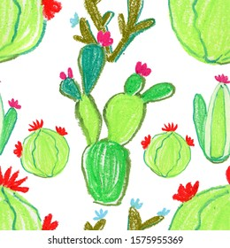 cactuses seamless background.  Trendy print. Exquisite pattern for design of watercolor sketches of the flowers.