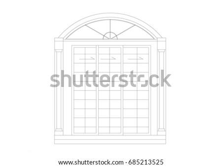 Cad Architectural Drawing Sliding Door Black Stock Illustration