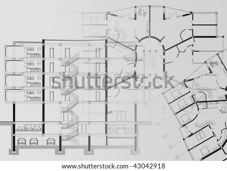 Cad Architectural Plan Drawings Illustration Stock Illustration