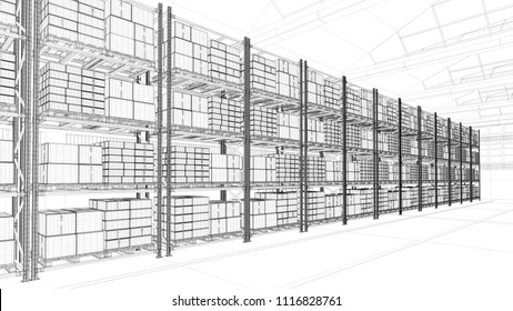 CAD design of warehouse with shelves and many boxes (3D Rendering)