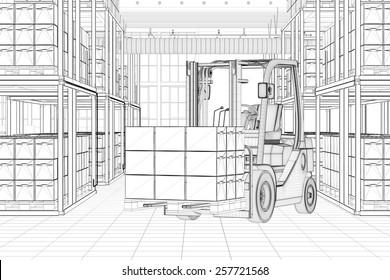 CAD line sketch of forklift in a full warehouse (3D Rendering)