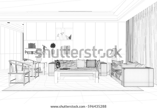 Cad Model Living Room Sofa Chairs Stockillustration 596435288
