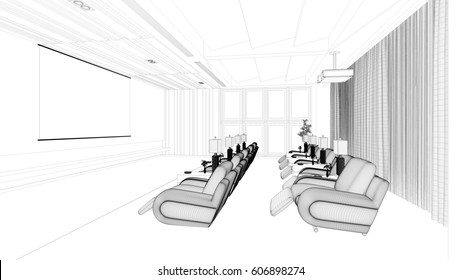 CAD planning of modern luxury home cinema theater (3D Rendering)