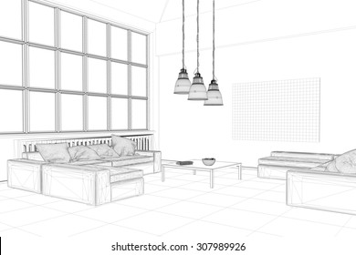 CAD planning ogf loft living room with wireframe mesh (3D Rendering)