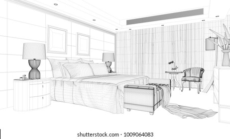 CAD wireframe from an elegant hotel room with double bed (3D Rendering)