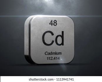 Cadmium element from the periodic table. Metallic icon 3D rendered with nice lens flare