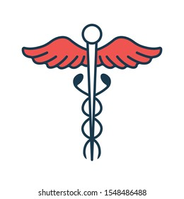 Caduceus Icon. Concept for Healthcare Medicine and Lifestyle. Outline Virtual Doctor. Medical Symbol, Icon and Badge. Simple illustration.
