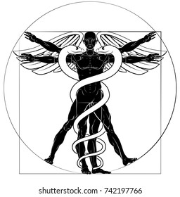 Caduceus medical sign with Vitruvian man figure like Leonard Da Vinci drawing
