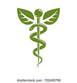 Caduceus medical symbol, graphic emblem for use in healthcare. Phytotherapy metaphor.