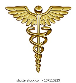 Caduceus medical symbol as a health care and medicine icon with snakes crawling on a pole with wings on golden metal texture isolated on a white background.