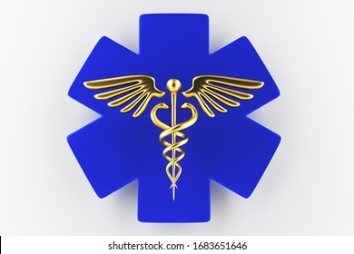 Caduceus medical symbol isolated on a white background. Caduceus Icon. Concept for Healthcare Medicine and Lifestyle. Caduceus sign with snakes on a medical star. 3d render